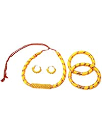 Yellow Necklace Silk Thread Jewellery Necklace Sets With Bangles Earrings Garba Jewellery