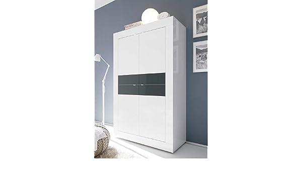 Credenza Moderna 4 Ante Basic : Credenza moderna 4 ante in legno bicolore laccato bianco e antracite