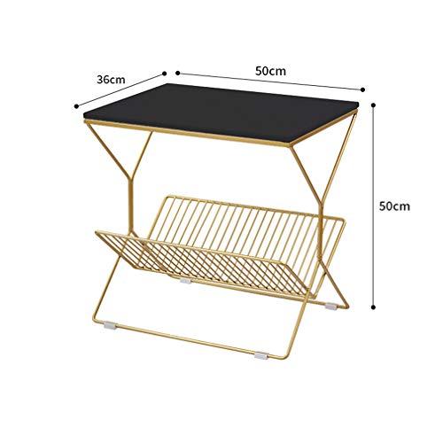 XUE-BAI Table latérale Nordique Table de Chevet Moderne Petite Table Basse en Fer Table de Chevet canapé Table Fin 50 * 36 * 50CM,Black