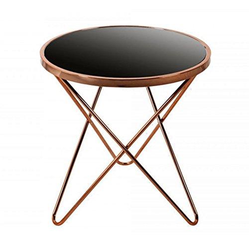 Chi Cheng Fang Electronic business Table à thé en Fer Petite Table Basse canapé Quelques Coins Ronde Table Basse Verre Noir, Superbe qualité (Color : Gold 55 * 55 * 57cm)