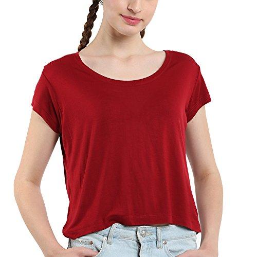 Voxpop Womens Maroon Color Half Sleeve