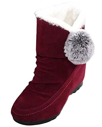 Minetom Donna Inverno Stivali Da Neve Piatta Altezza Crescente Cotone Boots Carino Pom Poms Scarpe Stivali Vino Rosso