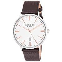 Akribos Xxiv Casual Watch Analog Display For Men Ak935Ssrg, Brown Band, Leather Strap