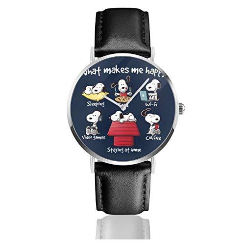 Unisex Business Casual Snoopy Staying at Home Makes Me Happy Watches Quarzuhr Lederarmband schwarz für Herren Damen Young Collection Geschenk