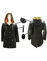 Filles enfants Sweat à capuche fourrure rembourré pour Parka ecole militaire de manteau de veste 7-13