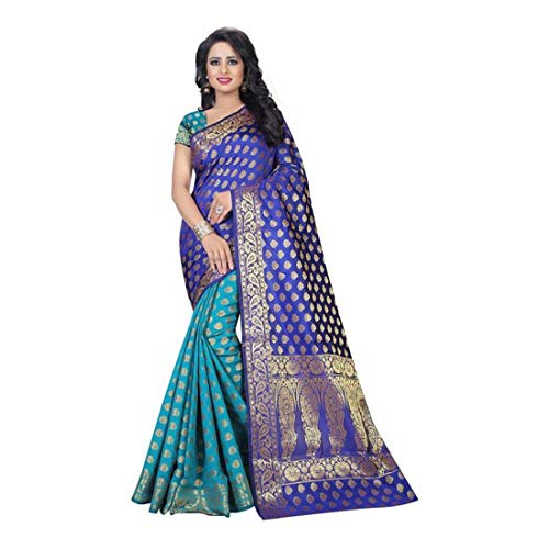Indian Handicrfats Export Maroosh Embroidered Fashion Faux Georgette Saree (Green, Blue) Faux Georgette Saree
