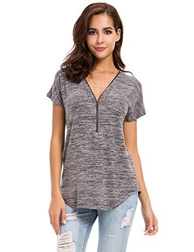 Avacoo Damen T Shirt Zipper V-Ausschnitt Kurzarm Tops Tunika Casual T Shirts Bluse mit Reißverschluss Grau S (Braune T-shirts)