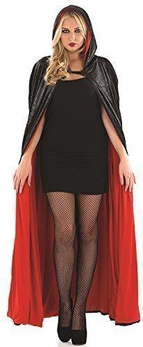 Damen Sexy Lang Schwarz Rot Gefütterte Kapuze Velvet Vampir Halloween Mantel Umhang Kostüm Kleid (Vampir Halloween Outfits)