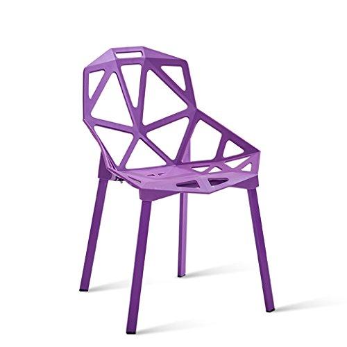 C&S Rückenlehne Hocker Studio Coffee Shop Stuhl Modische Geometrie Hohl Design Stahlrohr Stuhl Bein Dicke Kunststoff Stuhl Oberfläche Orange Lila Schwarz (Color : Purple) -