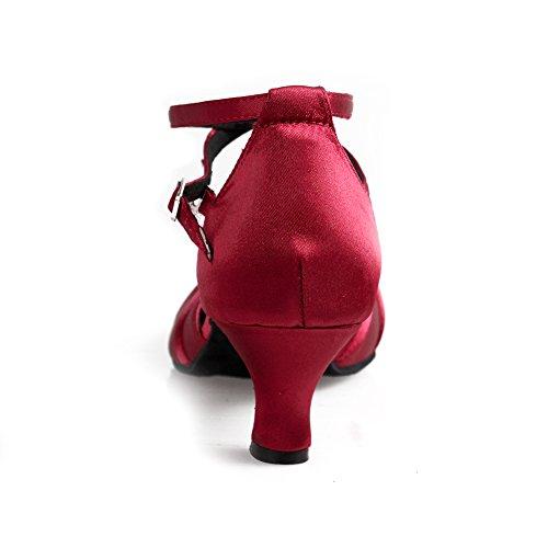 SWDZM Damen Ausgestelltes Tanzschuhe/Standard Latin Dance Schuhe Satin Ballsaal Modell-DC-516-5 Rot EU37.5 - 3