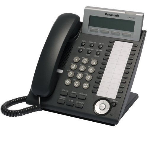 Panasonic KX-DT333 NE-B Digitales Systemtelefon (3-zeiliges Display, 24 frei programmierbare Funktionstasten, Headsetanschluss) schwarz