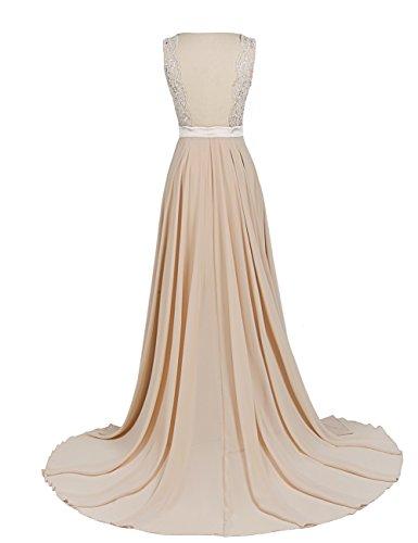 Dressystar Damen Chiffon Spitze Lang Formell Abendkleider Brautjungfernkleider Lavender
