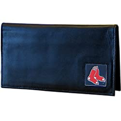 MLB Boston Red Sox Unisex Leather Checkbook Cover , Black,Large