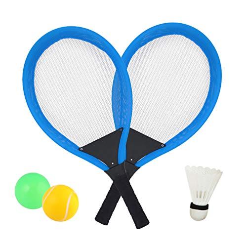 Racchetta Tennis Set con Palle Badminton Giocattolo per Bambini Ragazzi e Ragazze Gioco di Sport All'aperto (Blu)