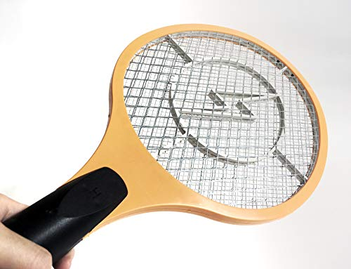 cormes - Elektronische Fliegenklatsche, Fliegenfänger, Mückenklatsche, Insektenvernichter, Mosquito-Schläger, Insektenschläger in Gelb … (2 Stück)