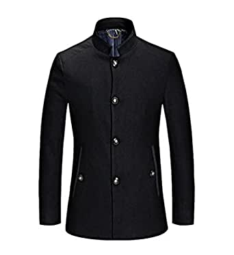 4fb3f059f63 Zhiyuanan Thicken Wool Blend Jacket for Guys Large Size Winter Warm  Business Casual Overcoat Slim Fit