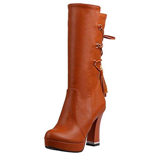 AIYOUMEI Damen Blockabsatz Halbschaft Stiefel mit Fransen und Plateau High Heels Elegant Mid Calf Boots
