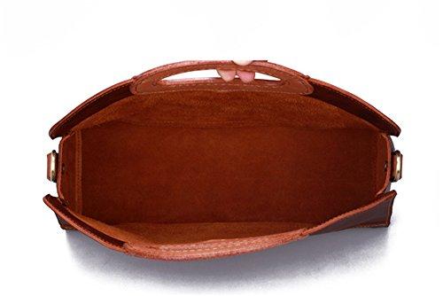 Xinmaoyuan Borse donna borsa femminile primo strato in pelle Borsetta tracolla messenger bag lato semplice personalità retrò Package Kaki