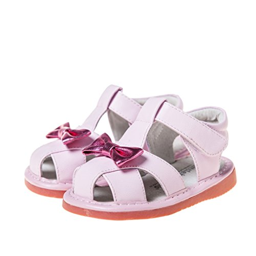 Chaussures bébé sifflantes encouragent premiers pas fille- Blanc Rose