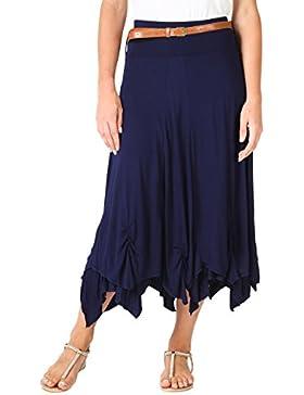 KRISP Falda Larga Mujer Talla Grande Asimétrica Boho Cintura Alta
