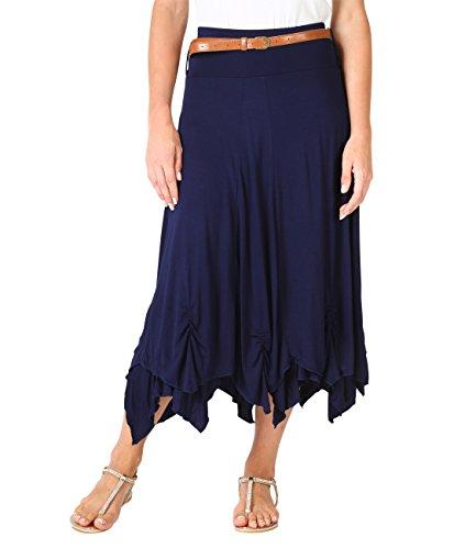 KRISP® Femmes Maxi Jupe Uni Bohème Hippie Chic Bleu marine (6521)