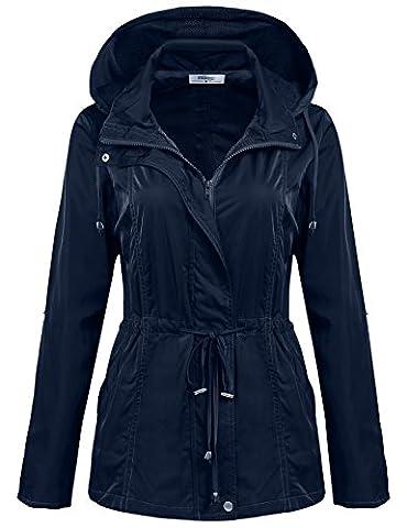 Meaneor de Pluie Femme Portable Manteau Imperméable à Capuche Coupe-Vent