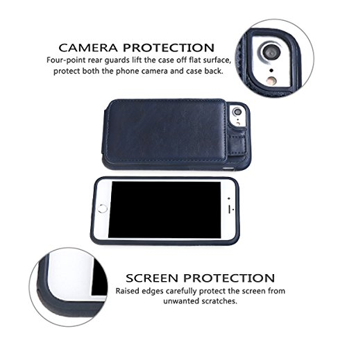 """xhorizon Etui portefeuille en cuir de la meilleure qualité de support Vertical haut et bas de fentes de la carte de crédit avec fermeture magnétique pour iPhone 6 6S [4.7""""] Bleu"""