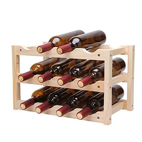 Stapelbarer Bambus Weinregal Würfel Für 12 Flaschen, Frei Stehend, Horizontal, Vertikal, Flaschenregal, Flaschenhalter, Weinhalter