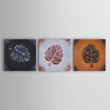 peinture-a-lhuile-moderne-feuille-florale-frottant-ensemble-de-trois-main-trio-toile-avec-cadre-etir
