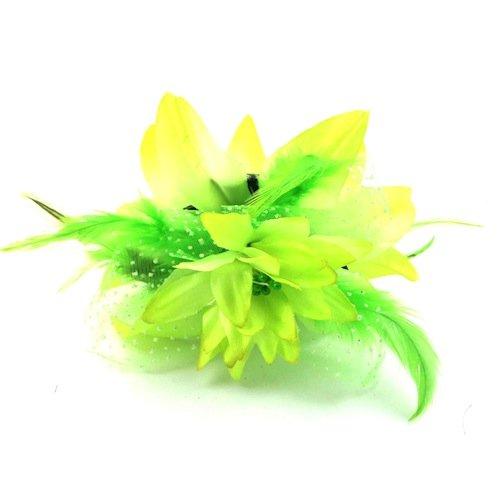 Bride Boutique Mariage Courses Festival Grand Fleur Pince De Cheveux Griffe Prise Barrette Fascinateur - Vert