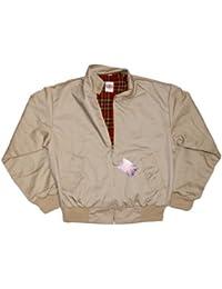 Harrington Jacket with Tartan Lining - Beige - 4XL