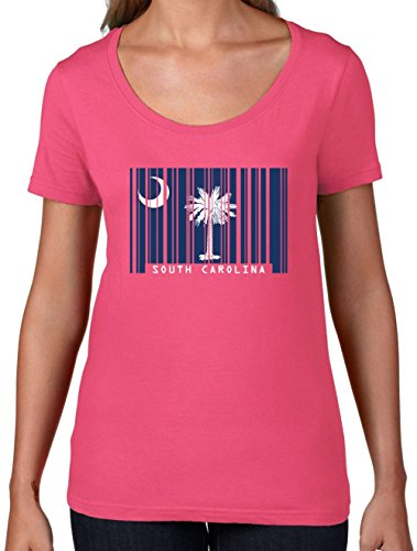 South Carolina Damen T-shirt (South Carolina / Süd-Carolina Barcode Flagge - Damen T-Shirt mit Rundhalsausschnitt- Azalee - XL)
