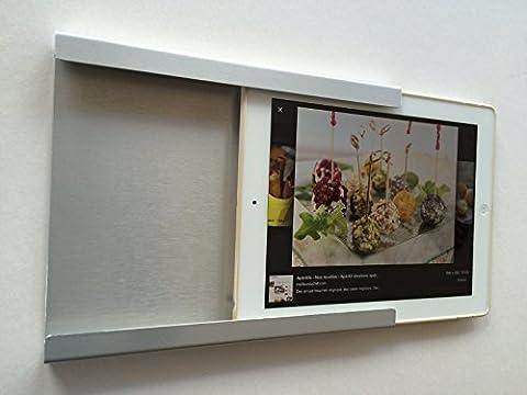 Support, domotique, fixation murale pour iPad Mini 1, 2, 4, avec ou sans coque fine de protection. En aluminium et intérieur façon cuir. Idéal dans la cuisine ou au bureau. (ALU BROSSE)