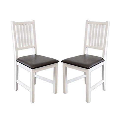 2 x Stuhl LUCCA Birke massiv weiß Esszimmerstuhl Küchenstuhl - Top Qualität! Perfekt für privat und Restaurants!