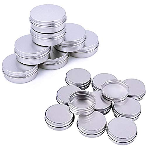 20pcs 10ml Aluminium Geltiegel, Silber Aluminium Leerdose,Salben Kosmetik Dosen Mit Schraubgewinde Deckel Nailart Kosmetik Blechdose