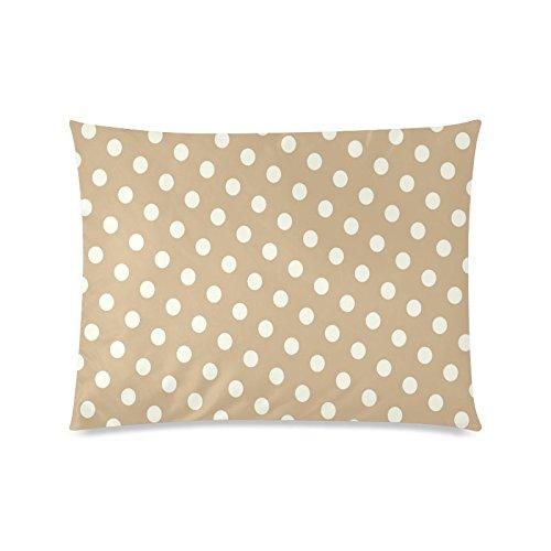 Braun Weiß Polka Dot Rechteck Sofa Home dekorativer Überwurf-Kissenbezug Baumwolle Polyester Twin Seite Druck 50,8x 66cm (Monster-truck-plüsch Werfen)
