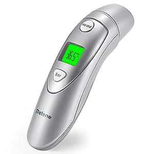 Thermomètre médical auriculaire et frontal Metene, thermomètre numérique infrarouge adapté pour bébé, nourrisson, bambin et adultes avec la FDA et CE