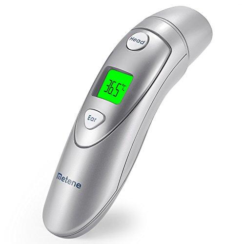 Termómetro médico de frente y oído de Metene, termómetro Digital infrarrojo apto para bebés, niños, jóvenes y adultos con aprobación FDA y CE.