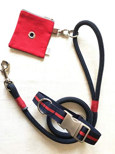 BLU&RED Set – Guinzaglio CORTO o LUNGO con Collare e portasacchetti