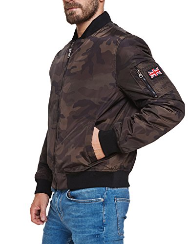 Lonsdale Herren Jacke Black Bomber Air Force Tarnung