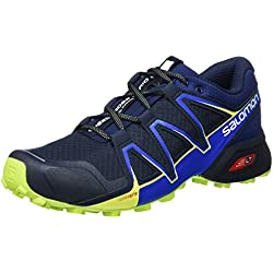 Salomon Speedcross Vario 2 Zapatillas de Running y Trail Running Hombre, Azul (Navy Blazer/Nautical Blue/Lime Punc), 42 EU (8 UK)