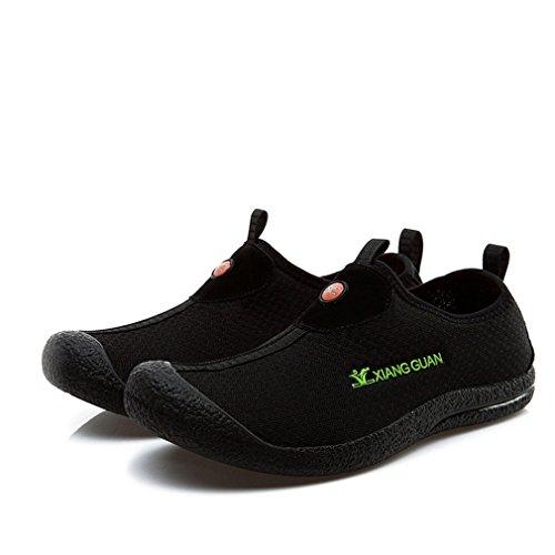 Xiang Guan Homme Mesh Respirant Slip On Chaussons pour Sport Aquatique Surf Plage Outdoor Chaussures de Randonnée Marche Noir