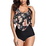 Frauen Zweiteilige Badebekleidung Weibliche Vintage Badeanzug Plus Size Backless Stehkragen Halter Floral Bedruckte Set Swimming Moonuy
