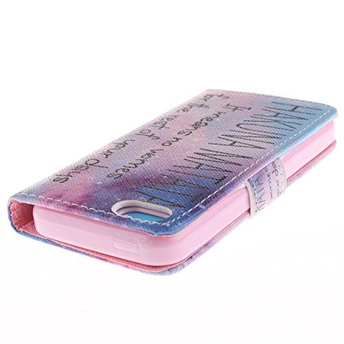 MOONCASE iPhone 5C Case Dessin Coloré Coque en Cuir Haute Qualité Portefeuille Housse de Protection Étui à rabat Case pour iPhone 5C -LK16 ST07