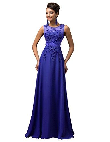 GRACE KARIN Vestidos Azules Vestido de Fiesta Larga Elegante Encaje Floral Talla 38