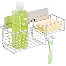 mDesign Cesta para ducha – Práctica estantería de baño sin tornillos – Ideal organizador de baño en aluminio para sus artículos de ducha con un toque en níquel cepillado