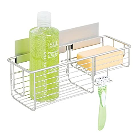 mDesign AFFIXX Self Adhesive Shower Basket - No Drilling Required - Practical Shower Shelf for all your Shower Accessories - Stainless Aluminium Shower Organiser - Satin/Nickel