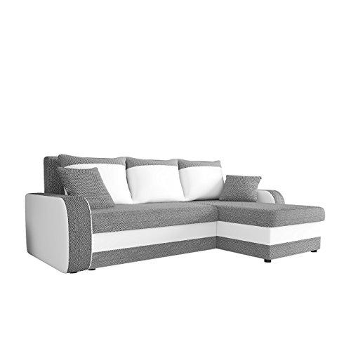 Mirjan24  Ecksofa Kristofer Lux, Eckcouch Couch! mit Schlaffunktion, Zwei Bettkasten, Farbauswahl, Wohnlandschaft! Bettfunktion! Design L-Form Sofa! Seite Universal! (Florida 01 + Rain 01)