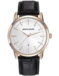 Pierre Cardin Armbanduhr Herrenuhr Quarz Uhr Alfort Homme - Analoge Uhr mit schwarzem Lederarmband und silbernem Zifferblatt - 30m/3atm - PC901861F02