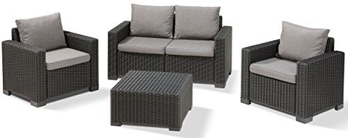 Allibert Lounge Sofa, Balkon California, 141 x 68 x 72 cm, Lounge Sofa, Rattan, graphit/panama cool grau - 2